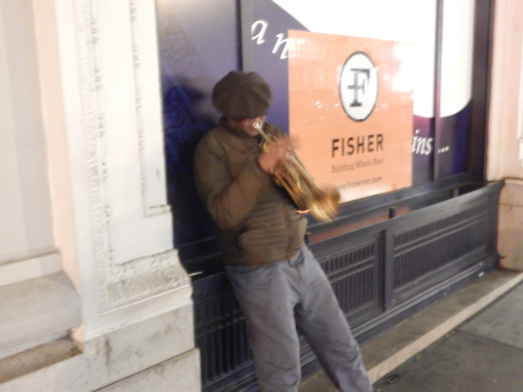 street performer satch the trumpet player near union square san francisco
