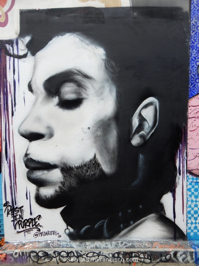 prince mural by mel waters, clarion alley san francisco street art