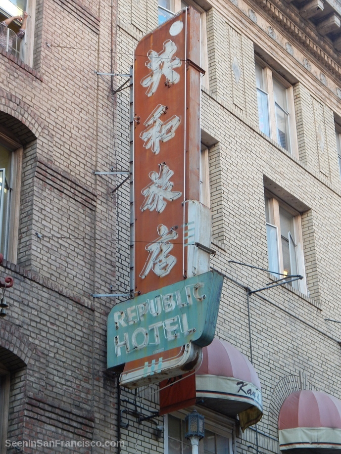 republic hotel vintage sign, chinatown san franicso