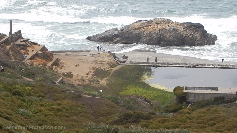 surf at sutro baths ruins, san francisco