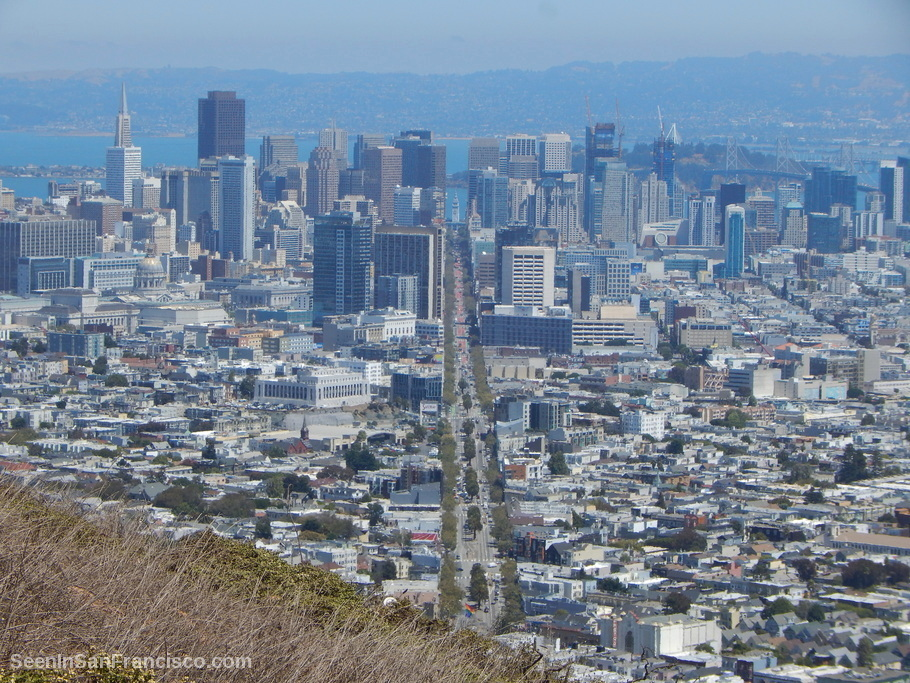 twin peaks view, san francisco city skyline